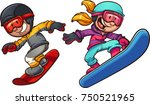 happy snowboarding kids. vector ... | Shutterstock .eps vector #750521965