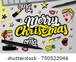 merry christmas with vector... | Shutterstock .eps vector #750522046