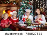 family with children eating... | Shutterstock . vector #750527536