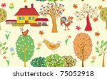 village seamless pattern with... | Shutterstock .eps vector #75052918