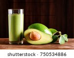 fresh avocado smoothie and ripe ... | Shutterstock . vector #750534886