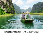 tourists traveling in small... | Shutterstock . vector #750534952
