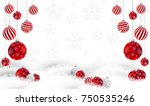 red christmas ball on the snow. | Shutterstock .eps vector #750535246