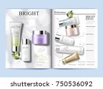 cosmetic magazine template ... | Shutterstock .eps vector #750536092