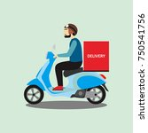 delivery man with motor | Shutterstock .eps vector #750541756