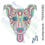 patterned head of dog terrier... | Shutterstock .eps vector #750543382