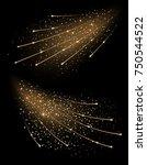 golden sparkling rays isolated... | Shutterstock .eps vector #750544522