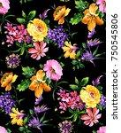 watercolor flower pattern   Shutterstock . vector #750545806