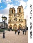 tourists visiting notre dame de ... | Shutterstock . vector #750547222