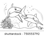 sharks on the sea  line art... | Shutterstock .eps vector #750553792