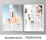 cosmetic magazine template ... | Shutterstock .eps vector #750555196