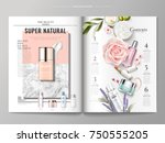 cosmetic magazine template  top ... | Shutterstock .eps vector #750555205