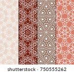 set of vintage seamless... | Shutterstock .eps vector #750555262
