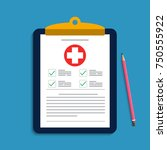 clipboard with medical cross... | Shutterstock .eps vector #750555922