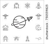 rocket fly around world icon.... | Shutterstock .eps vector #750559825