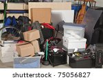 pile of boxes junk inside a... | Shutterstock . vector #75056827