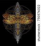 exquisite ornate stylized... | Shutterstock .eps vector #750576322