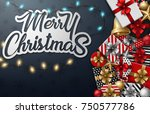 merry christmas typographical... | Shutterstock . vector #750577786