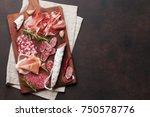 salami  sliced ham  sausage ... | Shutterstock . vector #750578776