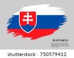 grunge styled flag of slovakia. ...   Shutterstock .eps vector #750579412