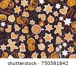 gingerbread cookies cup of... | Shutterstock . vector #750581842