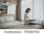 happy casual beautiful woman... | Shutterstock . vector #750589702