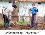 senior farmer teaching his... | Shutterstock . vector #75059074