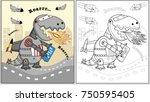 dino robot attack city  vector ...   Shutterstock .eps vector #750595405