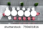 top view of white circle table... | Shutterstock . vector #750601816