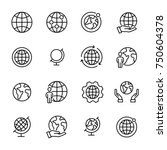simple set of globe related... | Shutterstock .eps vector #750604378