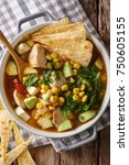 spicy tortilla soup with... | Shutterstock . vector #750605155