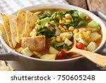 delicious tortilla soup with... | Shutterstock . vector #750605248