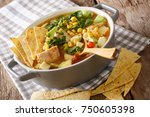 mexican tortilla soup with... | Shutterstock . vector #750605398
