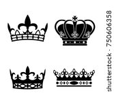 king crowns. icon set. antique... | Shutterstock .eps vector #750606358