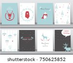set of cute merry christmas ... | Shutterstock .eps vector #750625852
