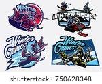 set of winter sport games badge   Shutterstock .eps vector #750628348