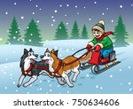 happy boy riding sleigh with... | Shutterstock .eps vector #750634606