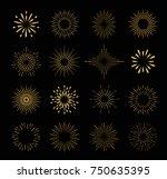 set of gold isolated sunburst... | Shutterstock .eps vector #750635395