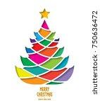 merry christmas tree | Shutterstock .eps vector #750636472