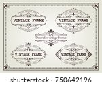 set of vintage frame with... | Shutterstock .eps vector #750642196