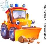 cartoon. funny tractor ... | Shutterstock .eps vector #750650782