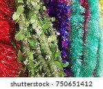 plastic garland ribbon .... | Shutterstock . vector #750651412