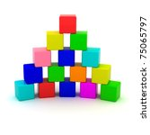 Pyramid from toy cubes isolated - stock photo