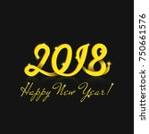 happy new year 2018 greeting... | Shutterstock .eps vector #750661576