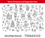 merry christmas and happy new... | Shutterstock .eps vector #750663142
