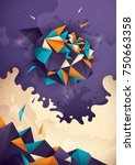 abstract illustration with... | Shutterstock .eps vector #750663358