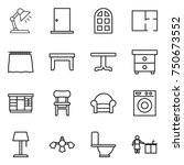 thin line icon set   table lamp ... | Shutterstock .eps vector #750673552