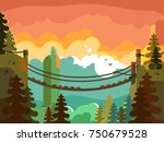 suspension bridge in jungle... | Shutterstock .eps vector #750679528