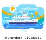 cruise ship in sea design flat. ... | Shutterstock .eps vector #750680152