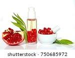 pomegranate oil. pomegranate... | Shutterstock . vector #750685972